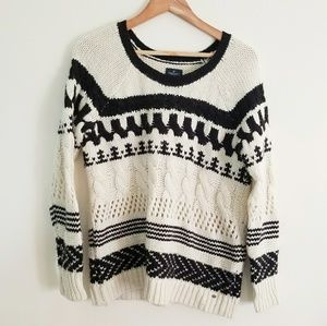 American Eagle Cable Knit Striped Sweater Size S
